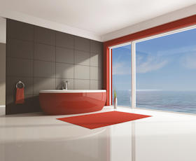 Red and white minimal contemporary bathroom - rendering
